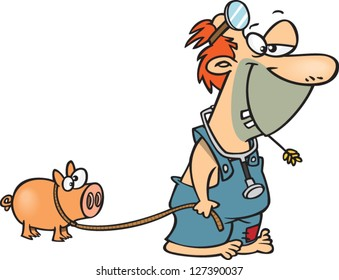 A vector illustration of cartoon hillbilly doctor walking his pig on a leash