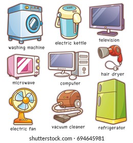 Vector Illustration of Cartoon Home electronics vocabulary