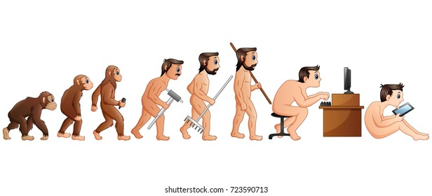 Vector illustration of Cartoon Human Evolution and Technology