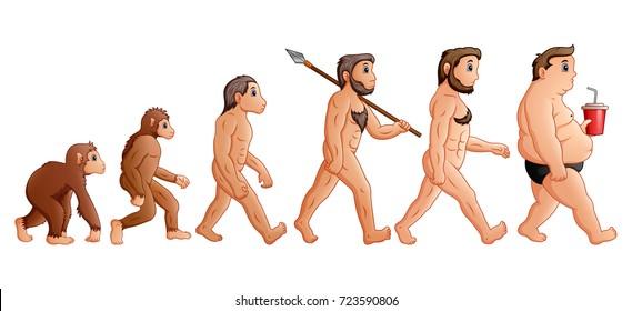 Vector illustration of Cartoon human evolution