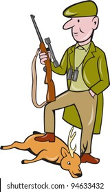 vector Illustration of a cartoon hunter with rifle standing on dead deer on isolated white background.