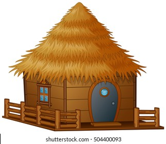 Vector illustration of  Cartoon hut on a white background