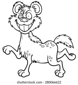 Vector illustration of Cartoon Hyena - Coloring book
