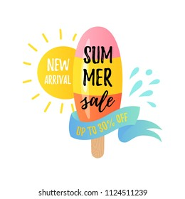 Vector illustration, cartoon ice cream with Summer sale text. New arrival sale banner. Up to 30% off lettering..