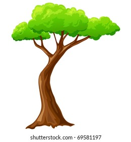 Vector illustration. Cartoon isolated tree on white background