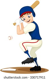 Vector illustration of a cartoon kid playing baseball.