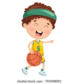 Vector Illustration Of Cartoon Kid Playing Basketball