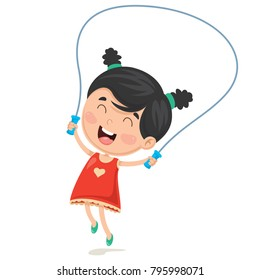 Vector Illustration Of Cartoon Kid Skipping Rope