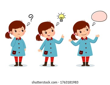 Vector illustration of cartoon kid thinking. Thoughtful girl, confused girl, and girl with illustrated bulb above her head.