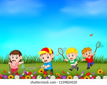 vector illustration of Cartoon kids catching butterfly in the garden