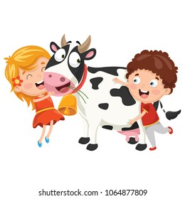 Vector Illustration Of Cartoon Kids With Cow