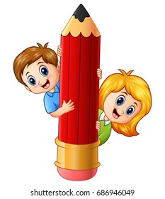 Vector illustration of Cartoon kids holding pencil