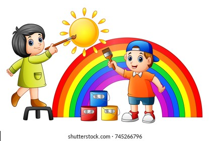 Vector illustration of Cartoon kids painting rainbow and sun
