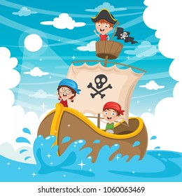 Vector Illustration Of Cartoon Kids Pirate Ship