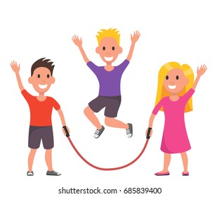 Vector illustration of Cartoon kids playing jumping rope. Vector illustration, flat design. Kids game, entertaiment concept