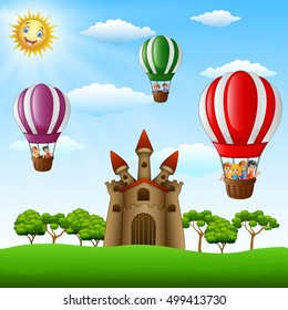 Vector illustration of  Cartoon kids riding in a hot air balloon near the castle