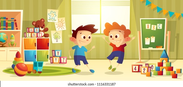 Vector illustration of cartoon kindergarten - boys playing toys. Children, books, furniture for preschool, infant school. Teddy bear, ball with other elements for teaching and learning kids.