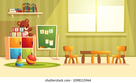 Vector illustration of cartoon kindergarten - toys for children, books, furniture for preschool, infant school. Teddy bear, ball with other elements for teaching and learning kids.