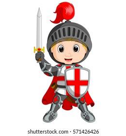 vector illustration of Cartoon knight boy