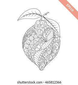 Vector illustration cartoon lemon with floral ornament. Coloring book page