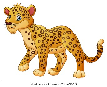 Vector illustration of Cartoon leopard walking