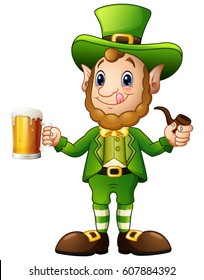 Vector illustration of Cartoon Leprechaun holding a glass of beer and pipes