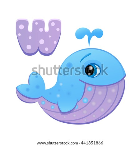 Vector Illustration Cartoon Letter W Cute Stock Vector Royalty Free