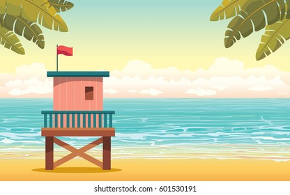 Vector illustration with cartoon lifeguard station on a beach and blue sea with cloudy sky. Summer tropical landscape.
