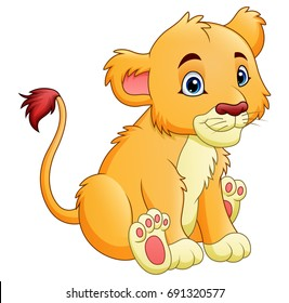 Vector illustration of Cartoon lion isolated on white background