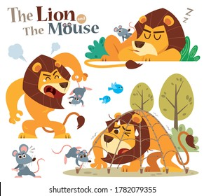 Vector Illustration of Cartoon The Lion and the Mouse. Fairy fable tale characters.
