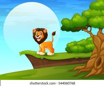 Vector illustration of Cartoon lion near the cliff