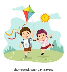 Vector illustration cartoon of a little boy and girl flying the kite. Siblings playing together.