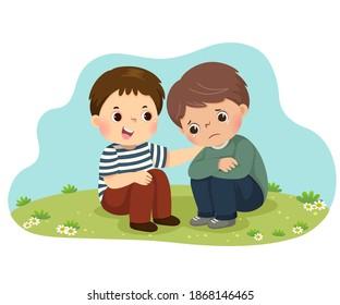 Vektorgrafik des kleinen Jungen, der seinen weinenden Freund tröstet.