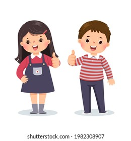 Vector illustration cartoon of a little boy and girl showing thumbs up with cheerful expression.