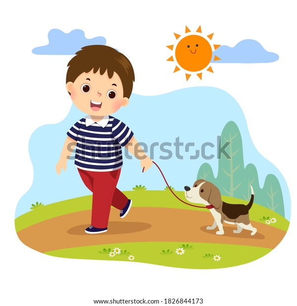 Vector illustration cartoon of a little boy taking his dog for a walk outdoors in nature. Kids doing housework chores at home concept
