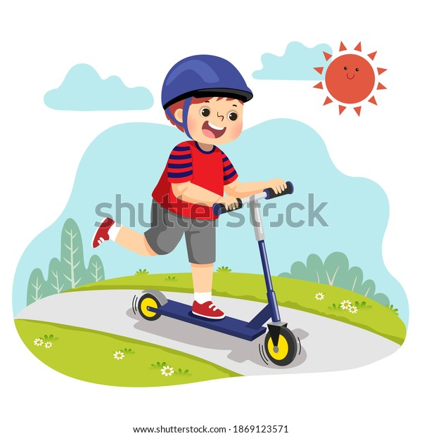 Vector illustration cartoon of little boy riding two-wheeled scooter in the park.