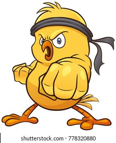 Vector illustration of Cartoon Little chick karate