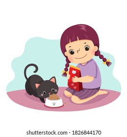 Vector illustration cartoon of a little girl feeding her cat at home. Kids doing housework chores at home concept.