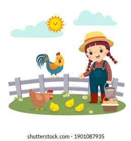 Vector illustration cartoon of little girl farmer feeding her chickens.