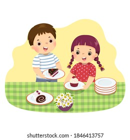 Vector illustration cartoon of little siblings setting the table. Kids doing housework chores at home concept.