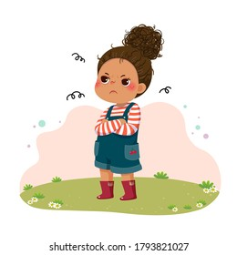 Vector illustration of cartoon little sulky girl standing with arms crossed on chest.