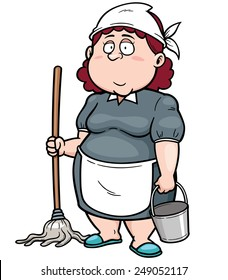 Vector illustration of Cartoon Maid with broom