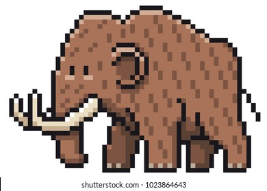 Vector illustration of Cartoon Mammoth - Pixel design