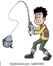 Vector illustration of Cartoon man fishing