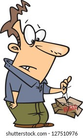 A vector illustration of cartoon man holding a smashed box