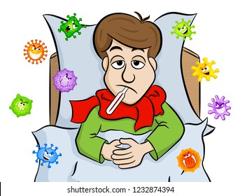 vector illustration of a cartoon man lying in bed with fever and is surrounded by viruses