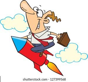 A vector illustration of cartoon man riding a rocket while holding a briefcase