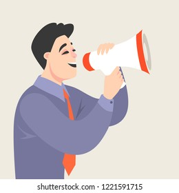 Vector illustration of a cartoon man speaking into a megaphone. Conceptual image