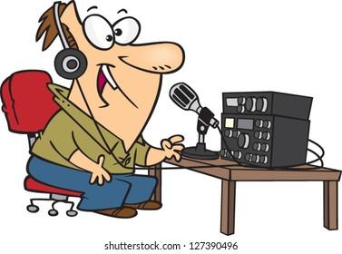 A vector illustration of cartoon man talking into an old ham radio
