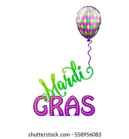 Vector illustration of cartoon mardi gras rhombus color balloon with swirl ribbon and lettering text sign isolated on white background
